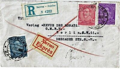 EXPRESS LETTER POSTED FROM ZAJECAR(Jugoslavia) TO BERLIN(Germany) on 25.11.1932