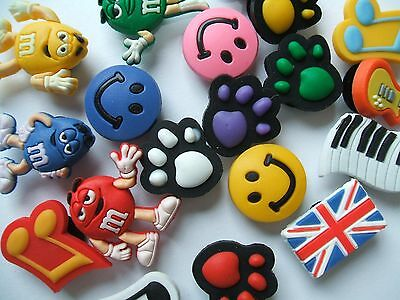 SHOE CHARMS (A1) LARGE PACKS - inspired by PAW PRINT, MUSIC, M & M, UNION JACK