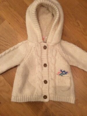 Cosy John Lewis Hooded Cardigan 9-12 Months Girls Warm Winter Wool Cable Knit