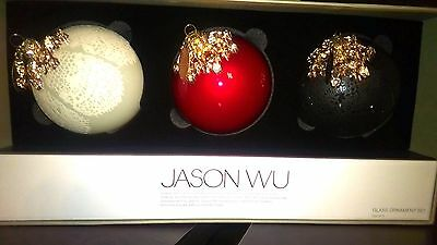 JASON WU for Neiman Marcus Collection Elegant Glass Christmas Ornaments (3) NEW