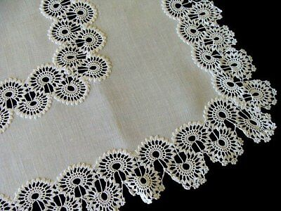 "WOW Antique Linen Hand Made Needle Lace Runner 31"" Centerpiece Doily PRISTINE"