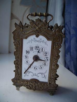 ANTIQUE FRENCH TABLE ALARM CLOCK VISIBLE ESCAPEMENT c1890- TLC