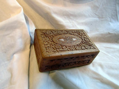 A Beautiful Hand Carved Brass Inlay Wooden Box