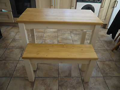 Wooden Farmhouse Kitchen Dining Table And 1 Bench sturdy and Solid