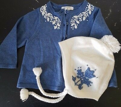 Pure Baby Blue & Cream Embroided Cardigan with matching Beanie 00 3-6M