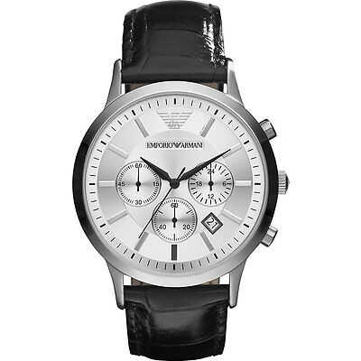 New Emporio Armani Ar2432 Mens Leather Watch - 2 Years Warranty - Certificate