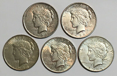 A Lot of 5 Circulated $1 Silver Peace Dollars