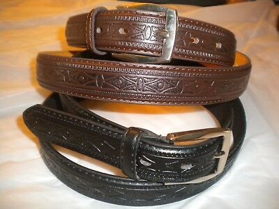 Brand New Lot Of 2  Dressy Belts  Design 1 Black 1   Brown Silver Buckle 1 1/4In