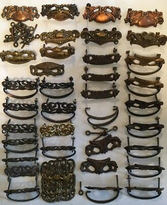 Lot of 30+ Stamped Brass Victorian Furniture Drawer Pulls