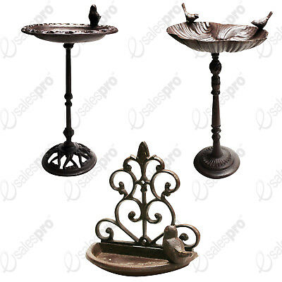 Decorative Cast iron bird bath or feeder selection stand alone or wall mounted