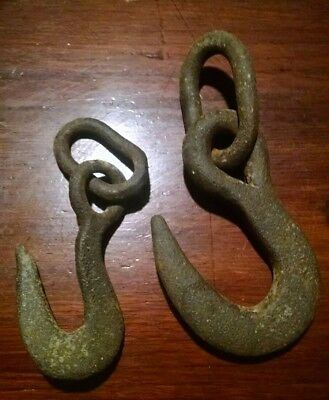 Antique Hand Forged Iron Hook And Chain Rustic