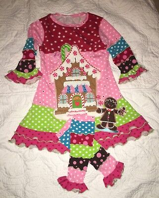 Custom Boutique Resell Christmas Gingerbread Appliqué Outfit/Set sz 5/6