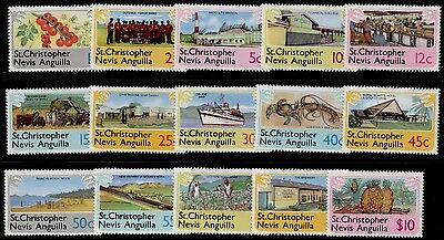 St Christopher Nevis Anguilla 355-69 MNH Fruit, Ship, Military, Agriculture
