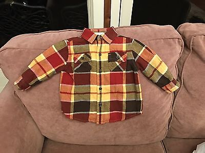 """Infant/toddler Boys """"janie And Jack"""" Gold & Maroon Plaid Button Down 6-12 Months"""
