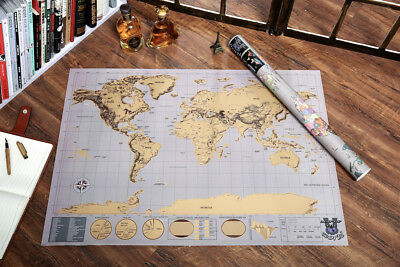 Deluxe Large Travel Scratch Off World Map Poster Personalized Journal Map New