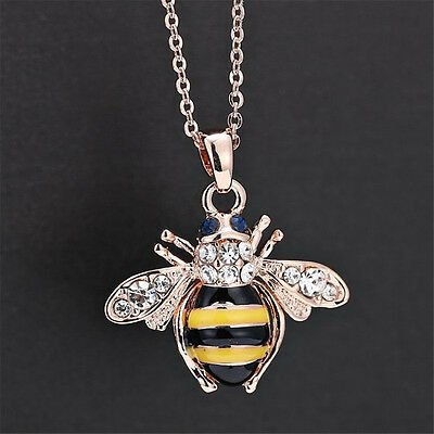 New hic Cute Women Ladies Honey Bumblebee Bee Crystal Pendant Chain Necklace ATA
