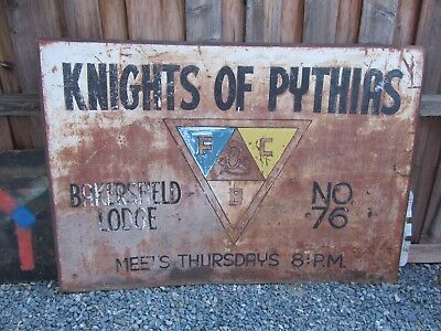 Knights of Pythias Sign Bakersfield Historical Chapter 76 Vintage Antique Old