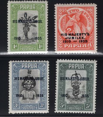 1935 Papua. SC#114-17 SG#150-53. Mint, Never Hinged, Very Fine.