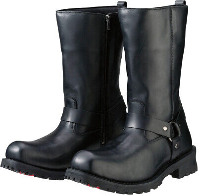 Z1R Men's RIOT Leather Motorcycle Riding Boots (Black) US 13