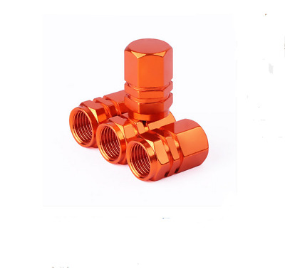 Fashion Refit 4PCS Orange Aluminum Tire Wheel Rims Stem Air Valve Caps