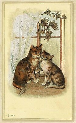 """Cats Kittens Window Sill Marshmallow Lotion Antique Victorian Trade Card 5x3"""""""
