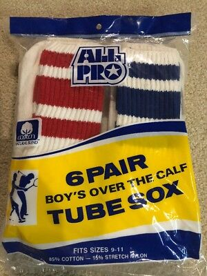 """Vintage 70's 80's Mens Boys 9-11 Over The Calf 17"""" Colored Striped Socks 6 Pair"""