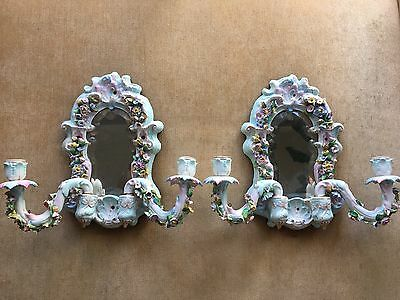 Antique Pair Of Meissen Porcelain Mirrored Sconces