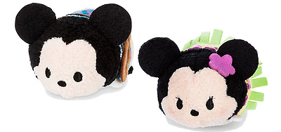 "Disney Store Mickey & Minnie Mouse Hawaii Tsum Tsum 3 1/2"" Mini Plush Set of 2pc"