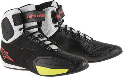 ALPINESTARS FASTER VENTED Road/Street Motorcycle Shoes (Blk/Wht/Red/Yllw) US 13