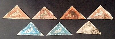 """RARE 1853-64 Cape of Good Hope lot of 7 """"Hope"""" Allegory stamps Used"""