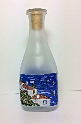 Frosted Glass Bottle Hand Painted in Greece Greek Isles Scene w/ Cork Stopper