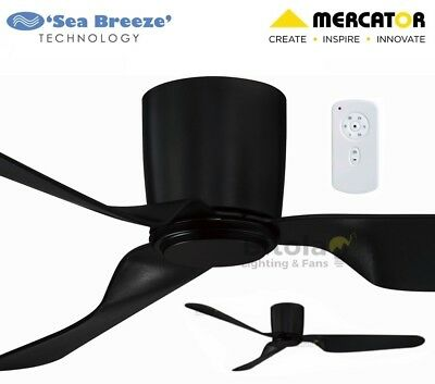 """NEW MERCATOR CITY BLACK 35w DC CEILING FAN WITH REMOTE 3 BLADE 52"""" LOW PROFILE"""