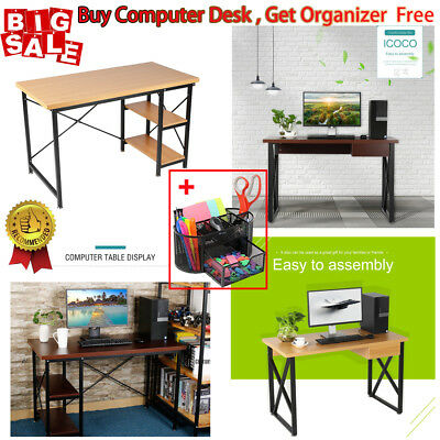 Wood Computer Desk PC Laptop Table Writing Study Workstation Home Office New HE