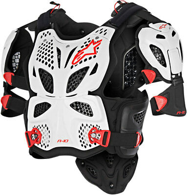 Alpinestars A-10 Full Chest Protector / Roost Guard (Black/Red/White) MD-LG