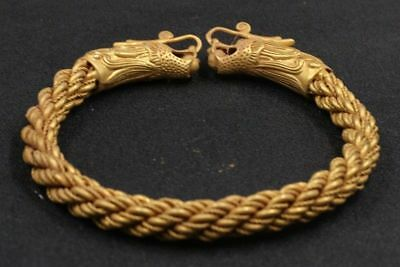 Chinese Exquisite Hand-carved Dragon carving copper Gilt bracelet