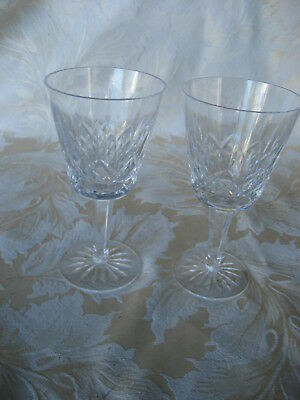 "Elegant Pair of Waterford Lismore Claret Goblets 5 3/4"" Tall"