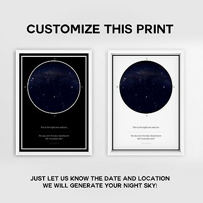 Amazing Gift Luxury Custom Personalised Star Sky Map - A3 A4 - FREE Postage - N1