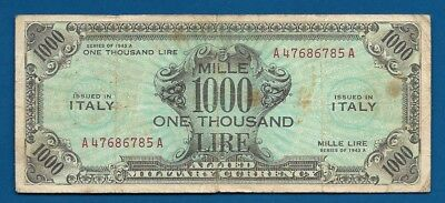 Italy 1,000 Lire Series 1943A M-23 WW2 Era Allied Military Occupation Currency