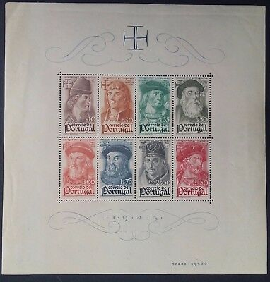 RARE 1945 Portugal Navigators of 15th-16th Century Minisheet with 8 stamps Mint