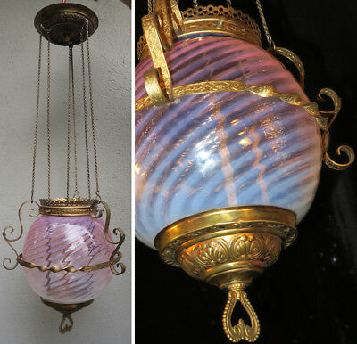 Antique Victorian Lamp Chandelier Cranberry globe shade Glass Vintage Brass cap