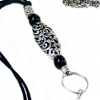 Silver Lace and Black Bead Lanyard necklace, id badge pen keys, reading glasses