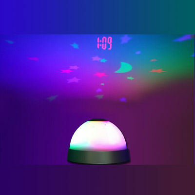 Night Light Magic Projection Projector LED Alarm Table Clock Color-Change Star