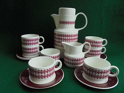Retro Mid Century Arklow Rhythm 16 Piece Coffee Set Irish Porcelain Like New