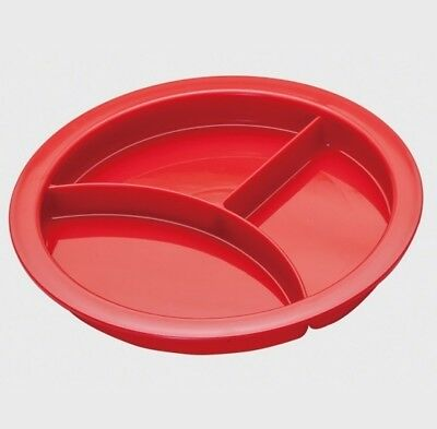 Red Non-Slip Divided Plate with Suction Base, Healthy Eating