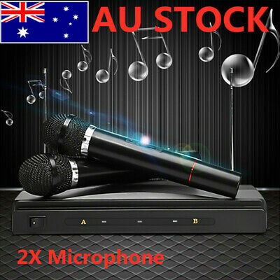 Wireless Microphone Dual Handheld System 2 x Mic Receiver Professional NSW STOCK