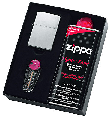 NEW Zippo #205 Satin Chrome Lighter with 125ml Fluids & Flints Gift Boxed 90207