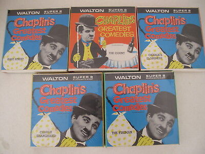 CHARLIE CHAPLIN 5 x WALTON SUPER 8 incl EASY STREET, THE COUNT, THE FIREMAN