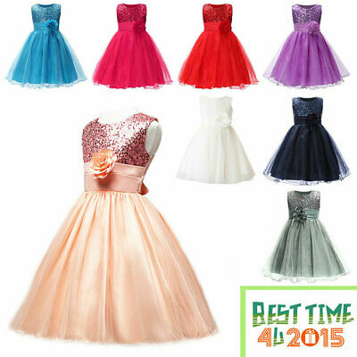 Kids Baby Flower Girls Party Sequins Dress Wedding Bridesmaid Tutu Tulle Dresses