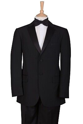 Mens 2 Piece Ex Hire Black Tie Single Breasted Tuxedo Tux Jacket And Trousers