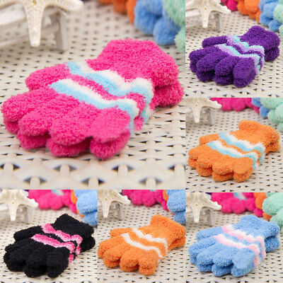 Five Fingers Lovely Baby Boys & Girls Coral Fleece Winter Warm Knitted Gloves UK